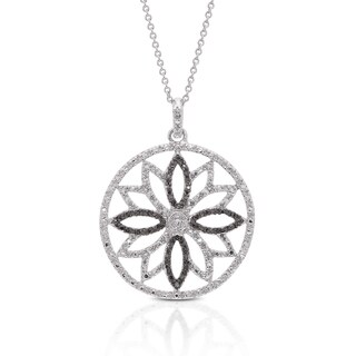 Finesque Silver Overlay Black Diamond Accent Flower Necklace