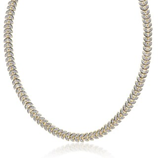 Finesque Gold Overlay 1/10ct TDW Diamond Leaf Necklace