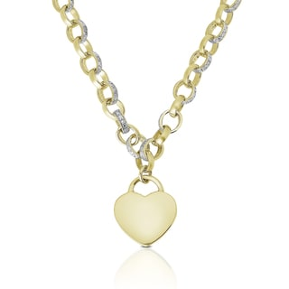 Finesque Gold or Silver Overlay 1/10ct TDW Diamond Heart Necklace