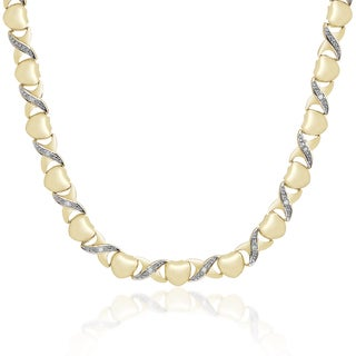 Finesque Gold Overlay 1/10ct TDW Diamond 'X' and Heart Design Necklace