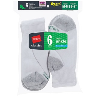 Hanes Classics Boys' Ankle EZ Sort Socks (Pack of 6)