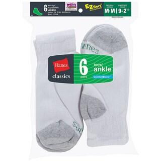 Hanes Classics Boys' Ankle EZ Sort Socks (Pack of 6)