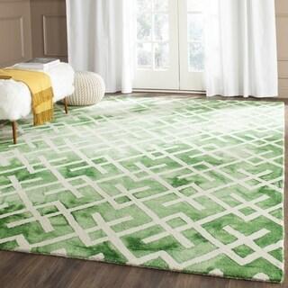 Safavieh Handmade Green/ Ivory Dip Dye Watercolor Vintage Wool Rug (4' x 6')