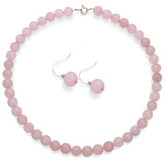 DaVonna Sterling Silver Rose Quartz Necklace Earring Jewelry Set