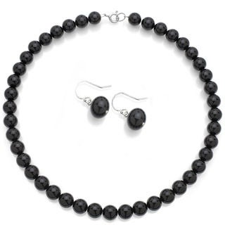 DaVonna Sterling Silver Round Created Black Onyx Jewelry Set (10 mm)