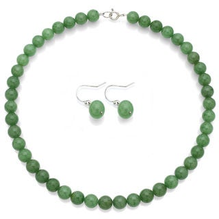 DaVonna Sterling Silver 10mm Green Aventurine Necklace Earring Jewelry Set
