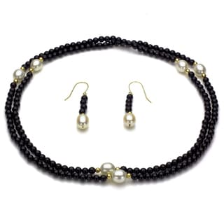 DaVonna 14k Yellow Gold Black Onyx Beads and White Pearls Jewelry Set
