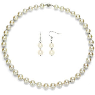 DaVonna Sterling Silver White Cultured Pearl and Beads Jewelry set