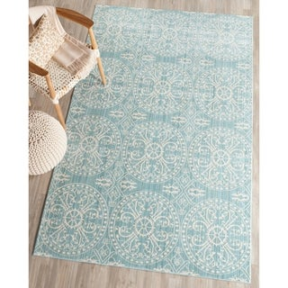 Safavieh Valencia Alpine/ Cream Distressed Silky Polyester Rug (5' x 8')