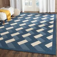 Safavieh Indoor/ Outdoor Courtyard Navy/ Beige Rug - 8' x 11'