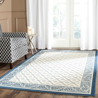 Safavieh Indoor/ Outdoor Courtyard Beige/ Navy Rug (5'3 x 7'7)