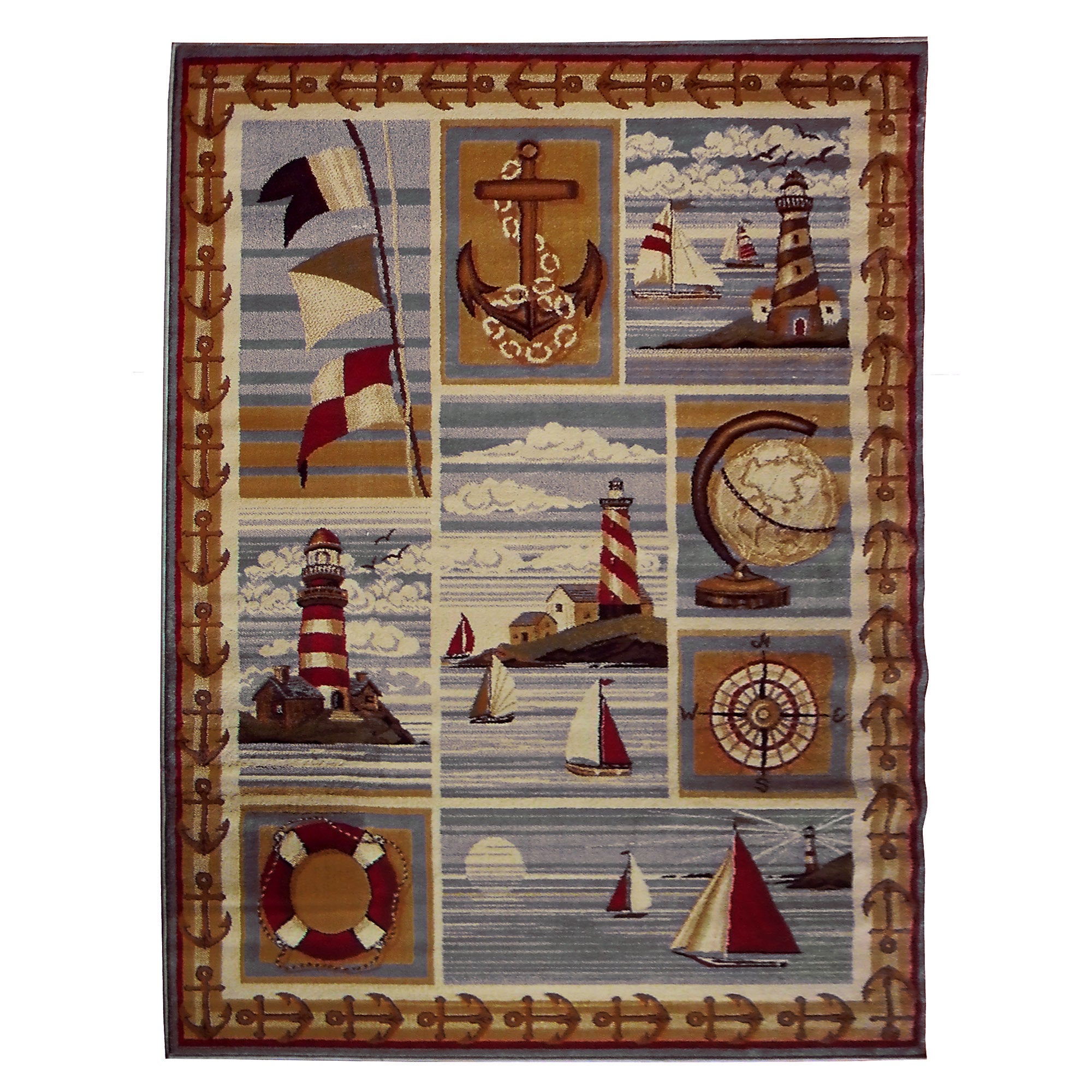 DonnieAnn Nautical Design Beige Area Rug (5'x7') (Beige, ...