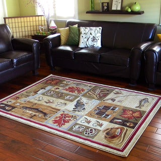 Fishing Design Beige Area Rug (5'x7')