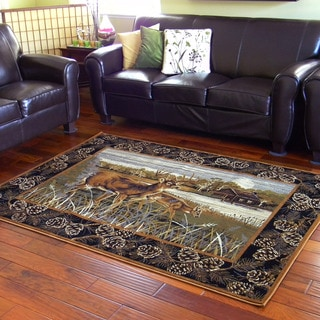 Deers and Cabin Lodge Design Black Area Rug (5' x 7')