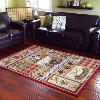 Leaf Design Camel Area Rug (5'x7')