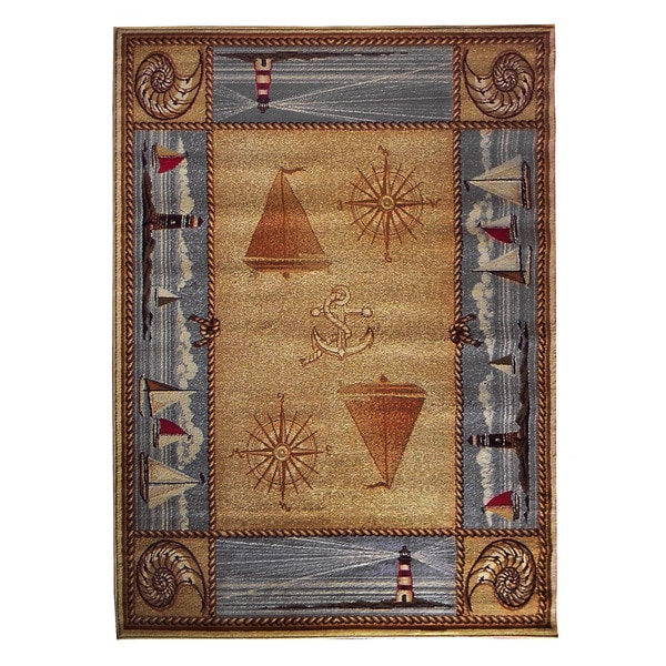 Shop Compass Design Camel Area Rug (5'x7')