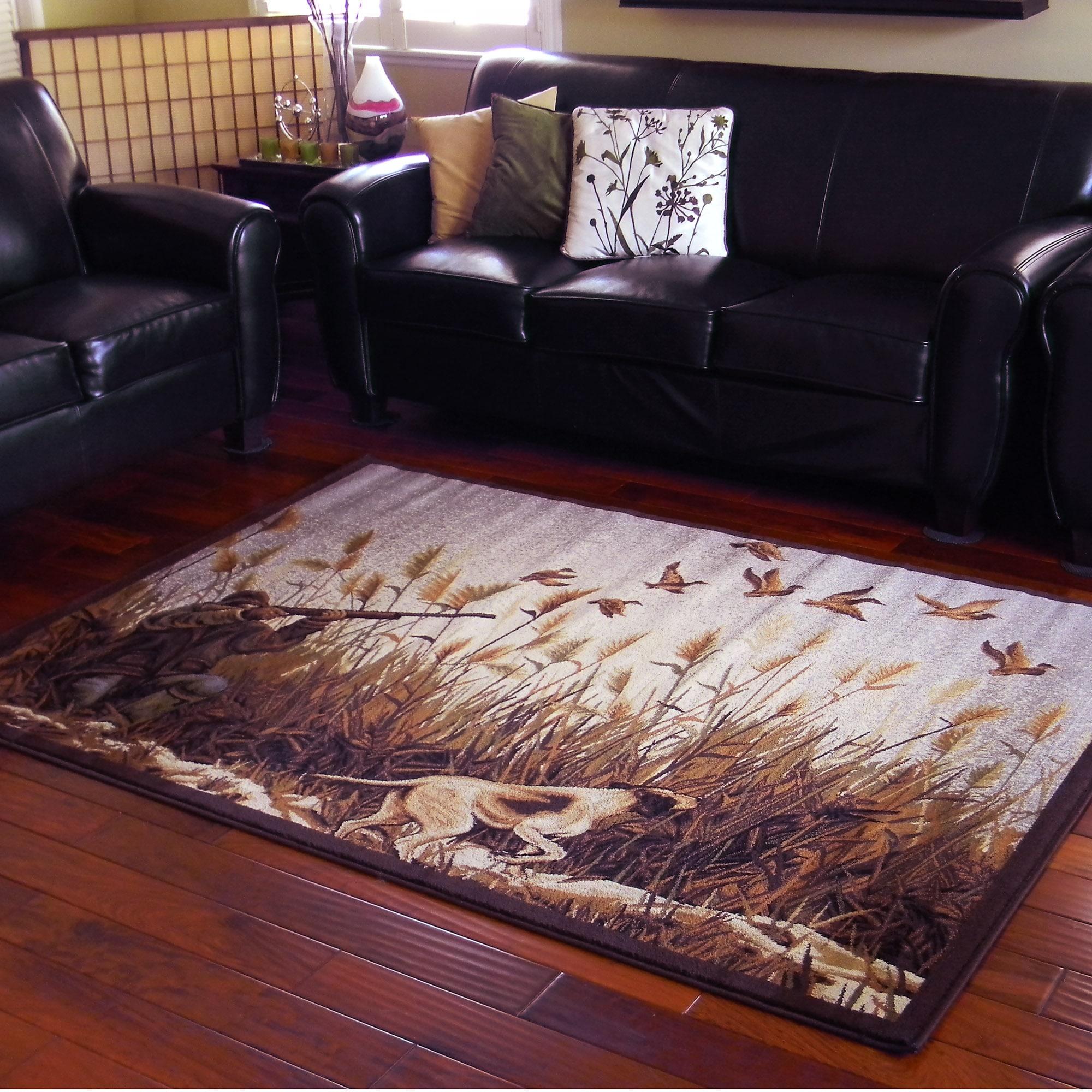 DonnieAnn Duck Hunting Design Beige Area Rug (5'x7') (Bei...