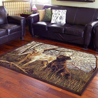 Two Labrador Dogs in Woods Design Beige Area Rug (5'x7')