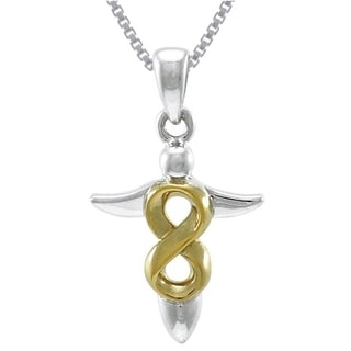 Carolina Glamour Collection Sterling Silver and Goldplated Celtic Infinity Knot Angel Necklace