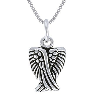 Carolina Glamour Collection Sterling Silver Small Angel Wing Necklace