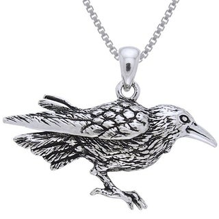 Carolina Glamour Collection Sterling Silver Raven Bird Necklace