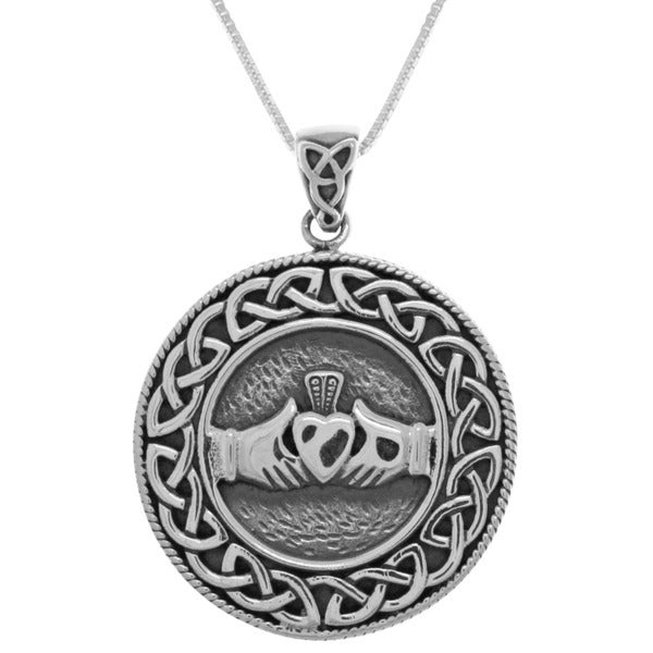 Sterling Silver Celtic Claddagh Round Knot Work Necklace