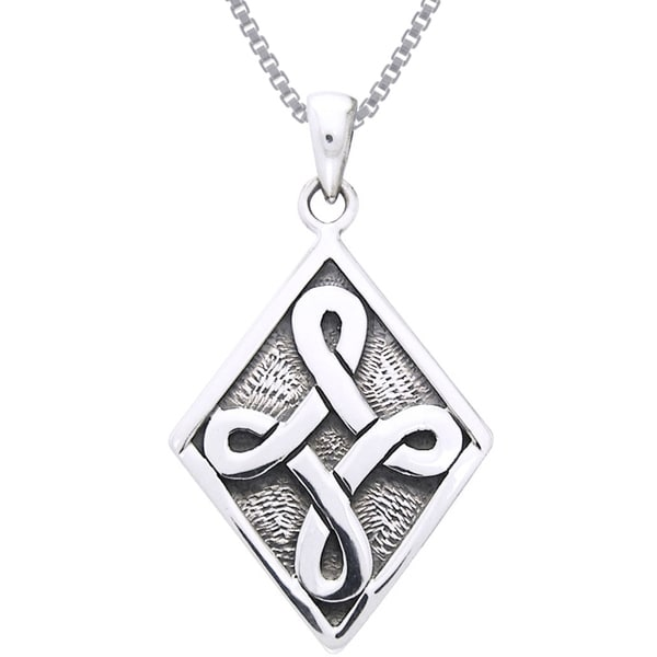 Sterling Silver Celtic Strength Knot Necklace