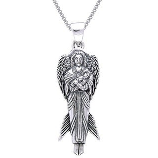 Carolina Glamour Collection Sterling Silver Angel of New Hope with Baby Necklace