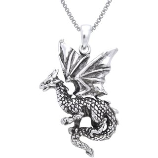 Sterling Silver Flying Dragon Necklace