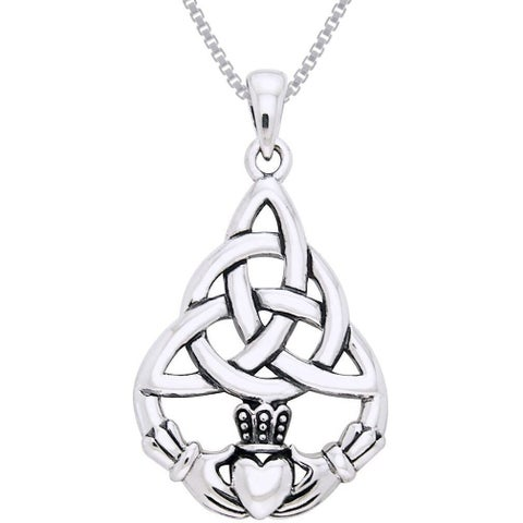 Sterling Silver Celtic Triquetra Knot Claddagh Necklace