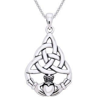 Carolina Glamour Collection Sterling Silver Celtic Triquetra Knot Claddagh Necklace