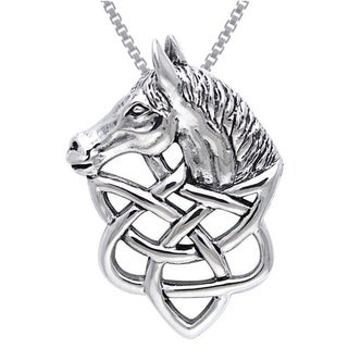 Carolina Glamour Collection Sterling Silver Celtic Knot Work Horse Head Necklace