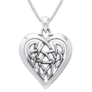 Carolina Glamour Collection Sterling Silver Celtic Knot Eternal Heart Necklace