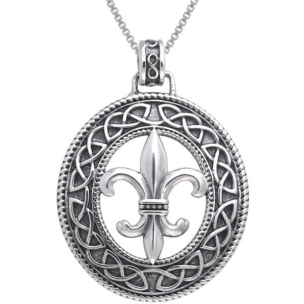 Sterling Silver Fleur De Lis Celtic Knot Work Necklace