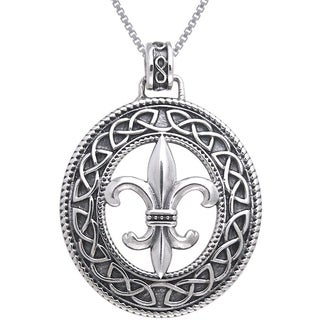 Sterling Silver Fleur De Lis Celtic Knot Work Necklace