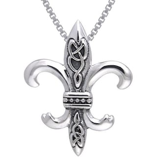Carolina Glamour Collection Sterling Silver Celtic Knots Fleur De Lis Necklace
