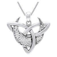 Sterling silver celtic triquetra moon necklace free shipping on sterling silver celtic trinity moon necklace aloadofball Image collections