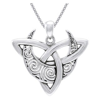 Sterling Silver Celtic Trinity Moon Necklace