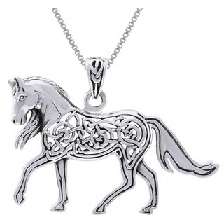 Carolina Glamour Collection Sterling Silver Horse with Celtic Knot Work Design Necklace