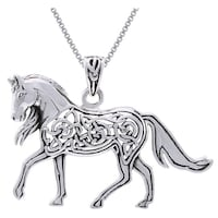 Sterling silver horse pendant necklace free shipping on orders sterling silver horse with celtic knot work design necklace aloadofball Gallery