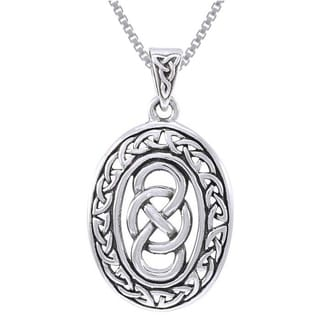 Carolina Glamour Collection Sterling Silver Celtic Infinity Knotwork Necklace