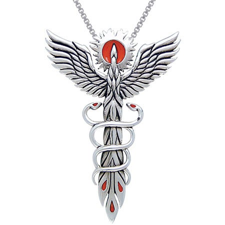 Sterling silver rising phoenix fire bird with snakes necklace free sterling silver rising phoenix fire bird with snakes necklace free shipping today overstock 17205075 mozeypictures Image collections