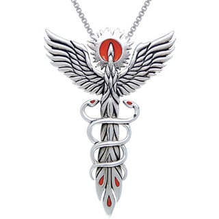 Sterling Silver Rising Phoenix Fire Bird with Snakes Necklace