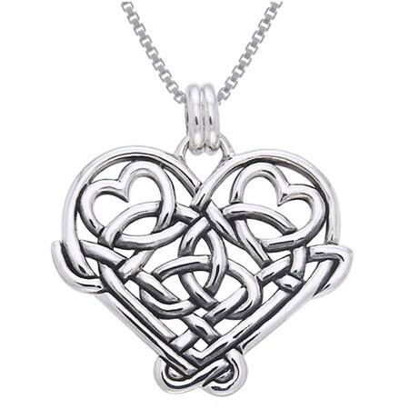 Sterling silver celtic knot eternal love heart necklace free sterling silver celtic knot eternal love heart necklace free shipping on orders over 45 overstock 17205076 aloadofball Images