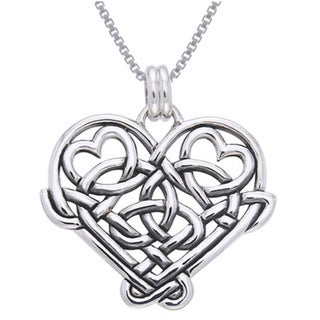 Sterling Silver Celtic Knot Eternal Love Heart Necklace