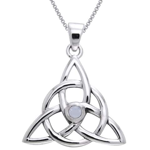 Sterling Silver and Moonstone Celtic Triquetra Necklace