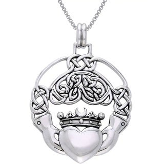 Sterling Silver Large Celtic Claddagh Necklace