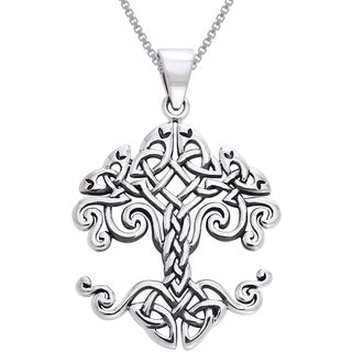 Sterling Silver Celtic Knot Work Tree of Life Necklace