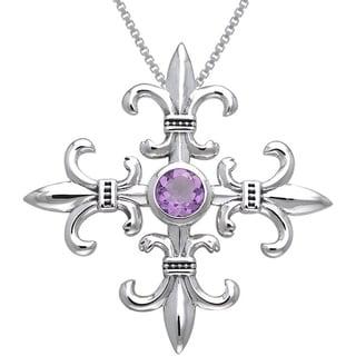 Sterling Silver and Amethyst Croix La Mere Fleur de Lis Necklace