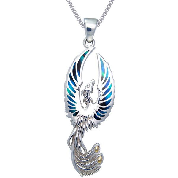 Sterling silver flying phoenix fire bird paua shell wings necklace sterling silver flying phoenix fire bird paua shell wings necklace mozeypictures Image collections